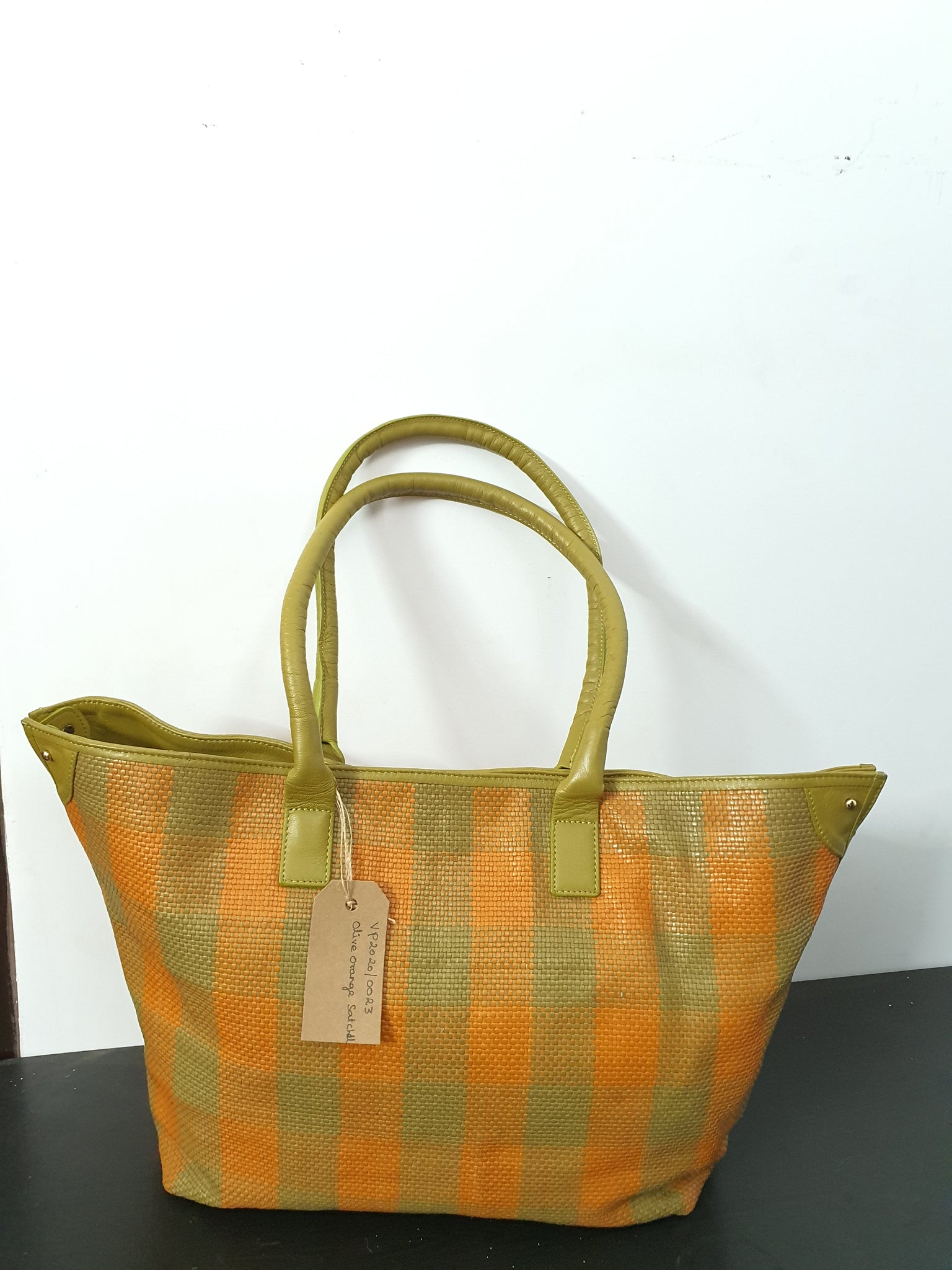 Olive Orange Matte Satchel Bag