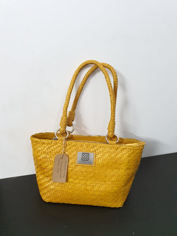 Mustard Matte Small Leather Tote
