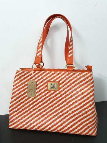 Orange & White Hand Bag