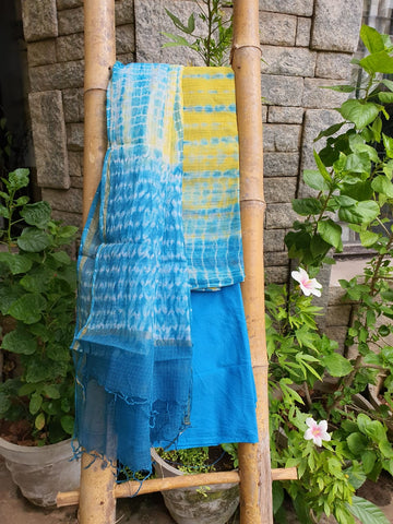 Light Blue & Yellow Kota Salwar Material