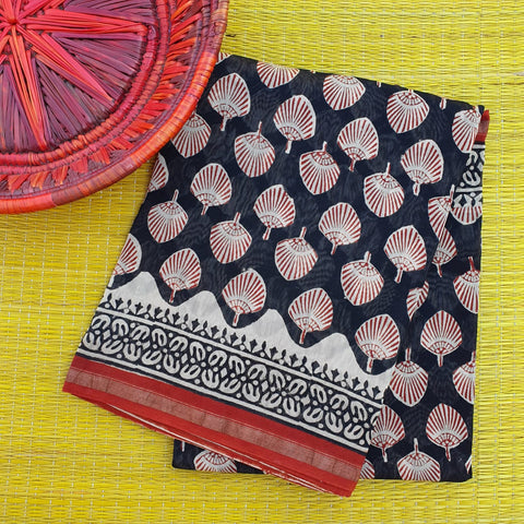 Black & Red Chanderi
