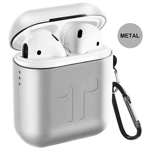 Metal Airpods Case 2019 Newest Full Protective Skin Cover Accessories Kits Compatible Airpods Charging Case Ultra Lightweight Dustproof Scratchproof Case-Black