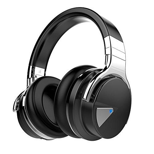 COWIN E7 Active Noise Cancelling Headphones Bluetooth Headphones with Mic Deep Bass - Black
