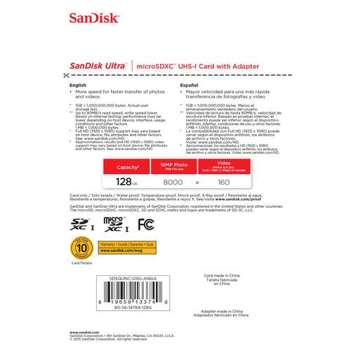 SanDisk 128GB microSDXC Memory Card Ultra Class 10 UHS-I with SD Adapter