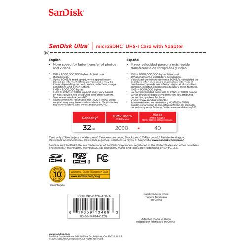 SanDisk 32GB Ultra UHS-I microSDHC Memory Card (Class 10)
