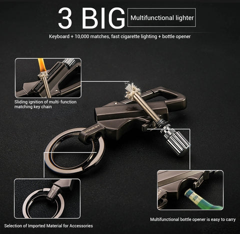 Keychain Multitool with Flint Metal Matchstick Fire Starter and Bottle Opener