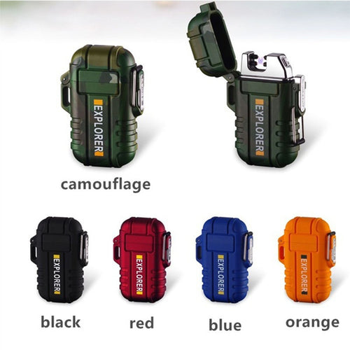 Waterproof Cigarette Lighter Dual Arc Plasma USB Lighter Outdoor Windproof Torch Lighter Camping BBQ Fire Starter Gifts for Men