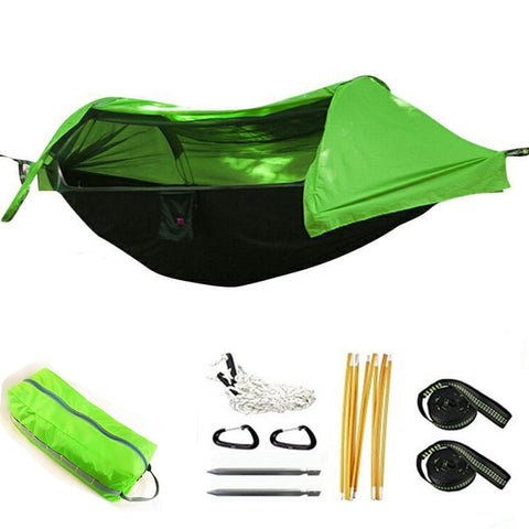 Image of Portable Camping Tent hammock tree top
