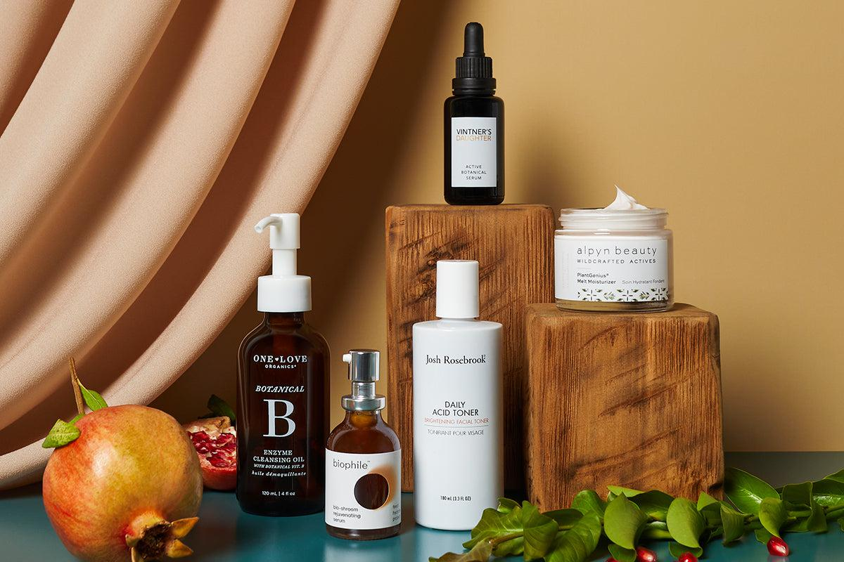 One Love Organics Botanical B Cleansing Oil, Biophile, Josh Rosebrook Daily Acid Toner, Vintner's Daughter Active Botanical Serum, Alpyn Beauty Moisturizer