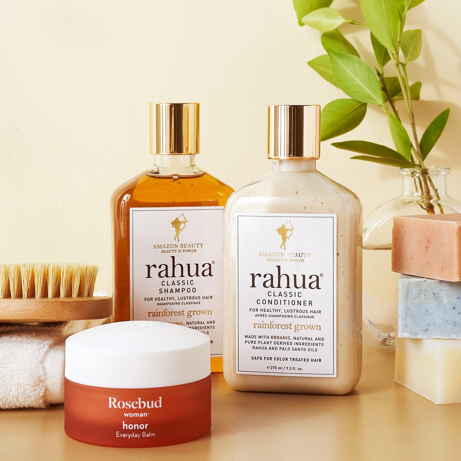 rahua classic shampoo classic conditioner rosebud honor balm sade baron bar soap dry body brush