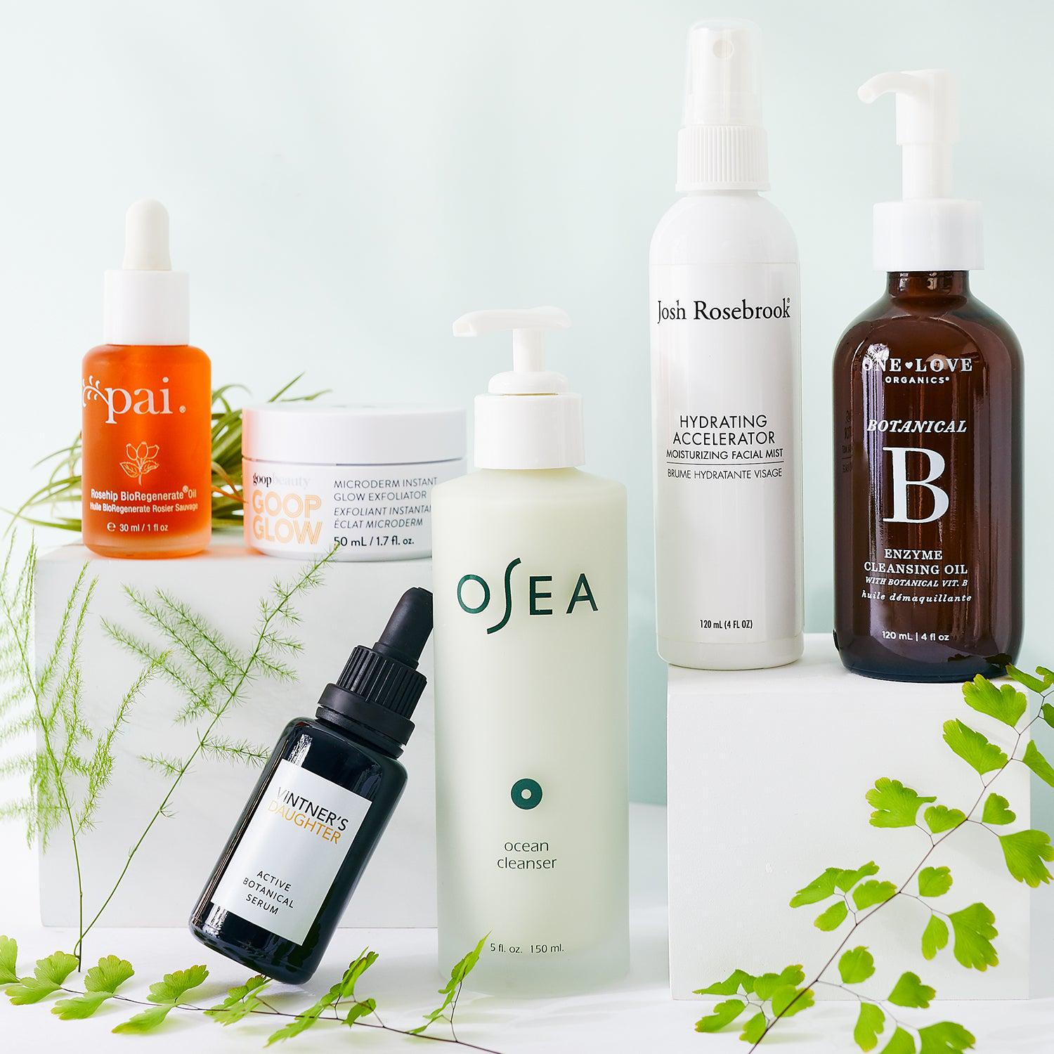 Clean skincare facial oil, serum, exfoliator, toner, cleanser, and cleansing oil from Pai, goop, Vintner's Daughter, Josh Rosebrook, and One Love Organics