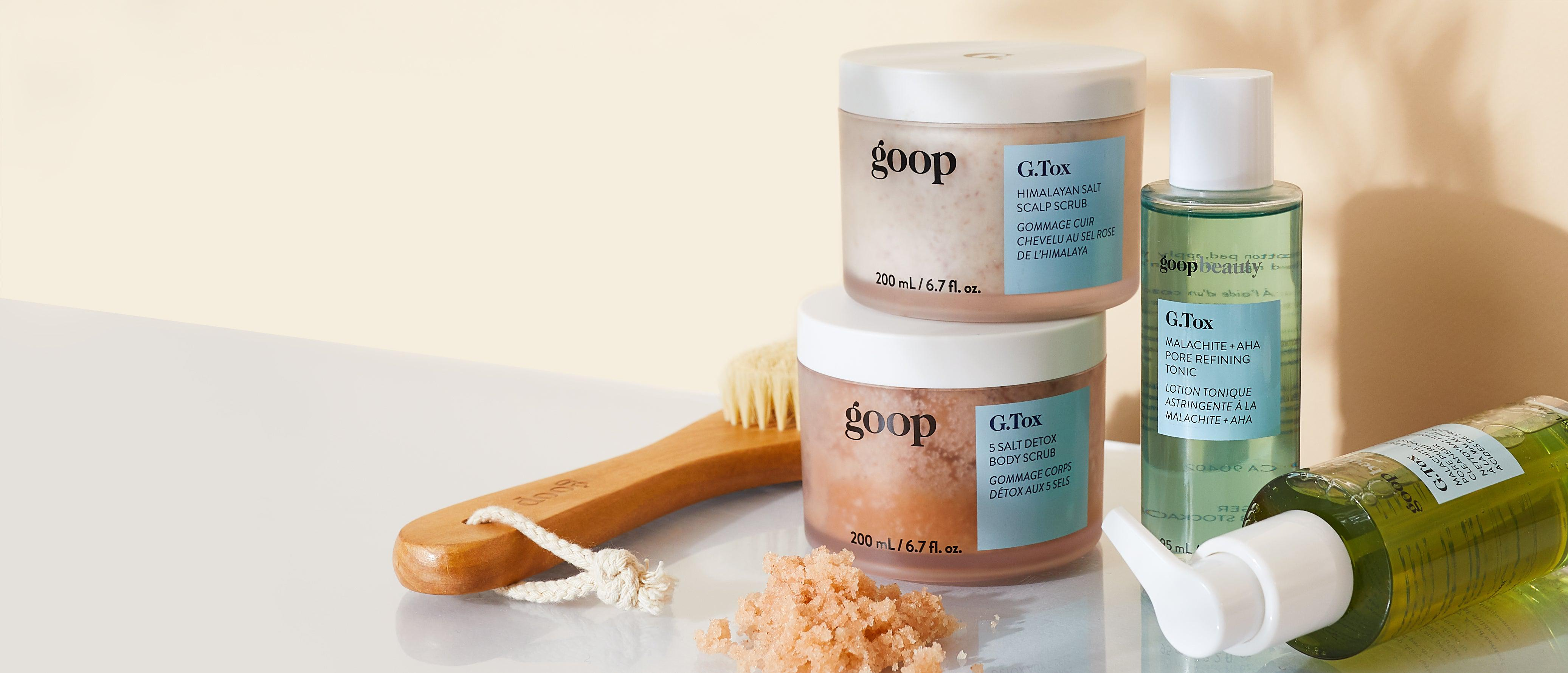 Clean cleanser, toner, body scrub, scalp scrub, and dry brush by goop Beauty g.tox