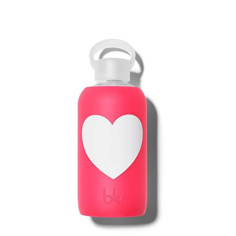 bkr 500mL Glass Water Bottle Bisous Heart (Sheer Pink Cherry Red with a White Heart)