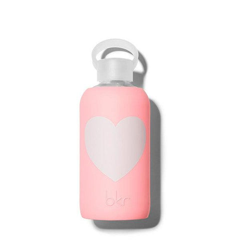 bkr 500mL Glass Water Bottle Elle (Opaque Coral with a White Heart)