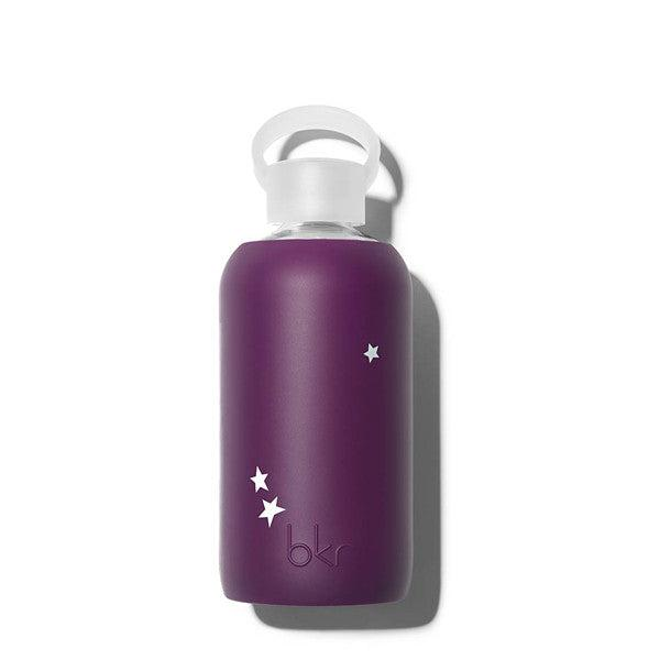 bkr 500mL Glass Water Bottle Lolita Star (Opaque Blackberry with Pale Blue Stars)
