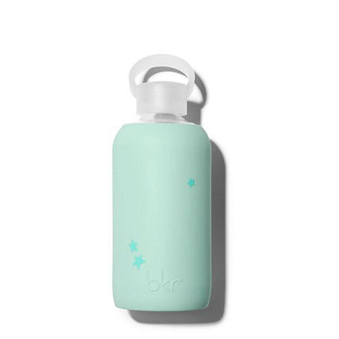 bkr 500mL Glass Water Bottle Lou Star (Opaque Mint Green with Holiday Blue Stars)