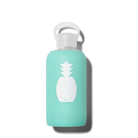 bkr Pineapple Holiday 500ml Water Bottle (sheer vacation blue with white pineapple)