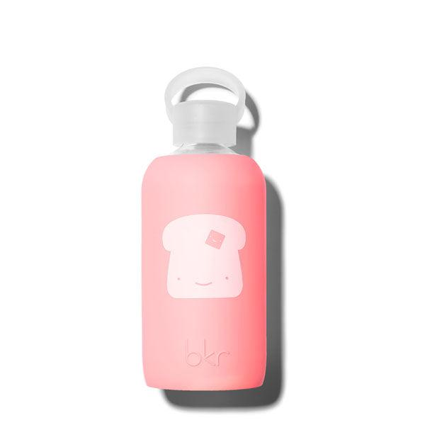 bkr Toast Elle 500mL (opaque pastel fluorescent coral with white buttered toast graphic)
