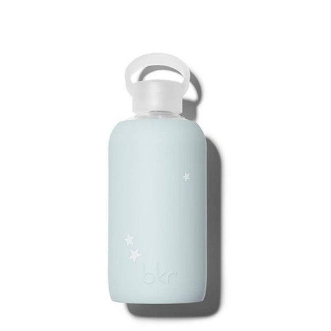 bkr 500mL Glass Water Bottle Wren Star (Opaque Light Blue with White Stars)