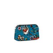 Travel Pouch Small Stampata Tattoo Blu Ceruleo