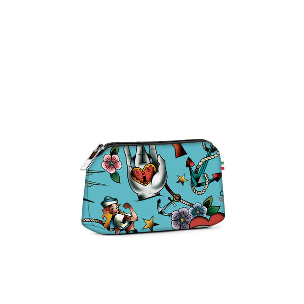 Travel Pouch Small Stampata Tattoo Celeste