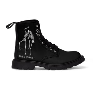 Rave to the Grave (Dancing Skeleton) Men's Canvas Boots