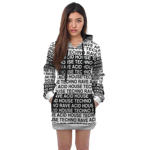 Techno Rave Acid House Hoodie Dress