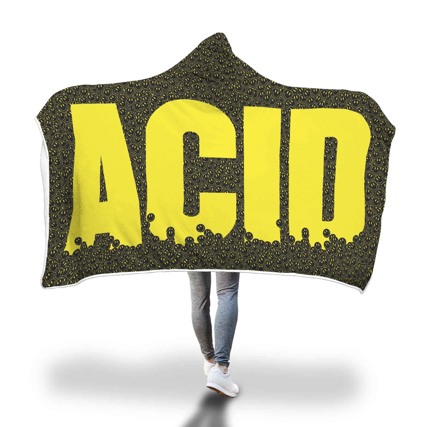 Acid Attack Hooded Blanket (with yellow type)