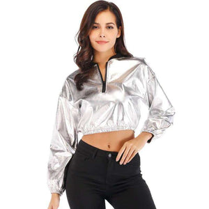 Techno Slut Silver Crop Jacket
