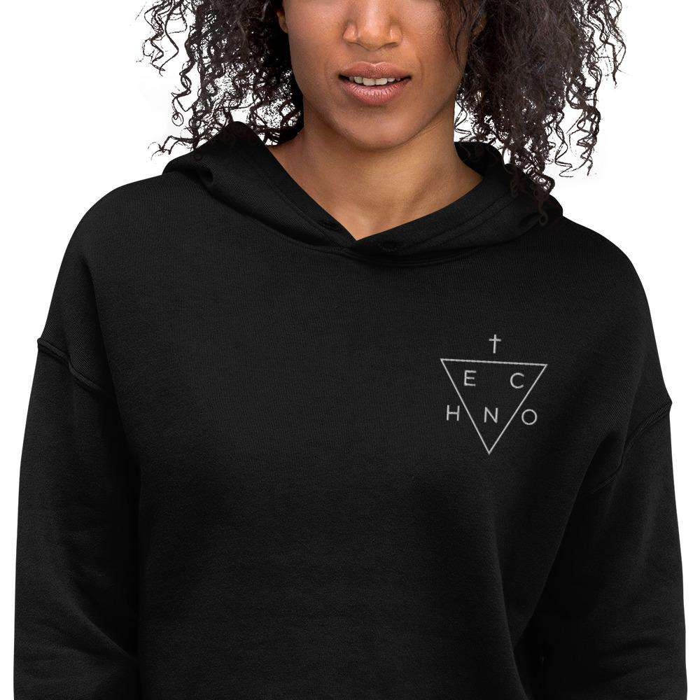 Techno Triangle Embroidered Crop Hoodie