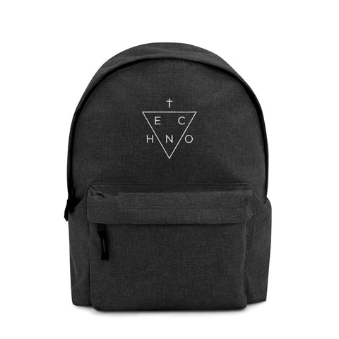 Techno Triangle Embroidered Backpack