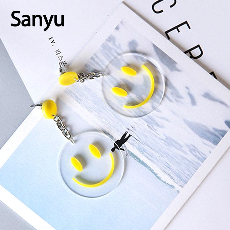 Acid Smiley Transparent Acrylic Earrings