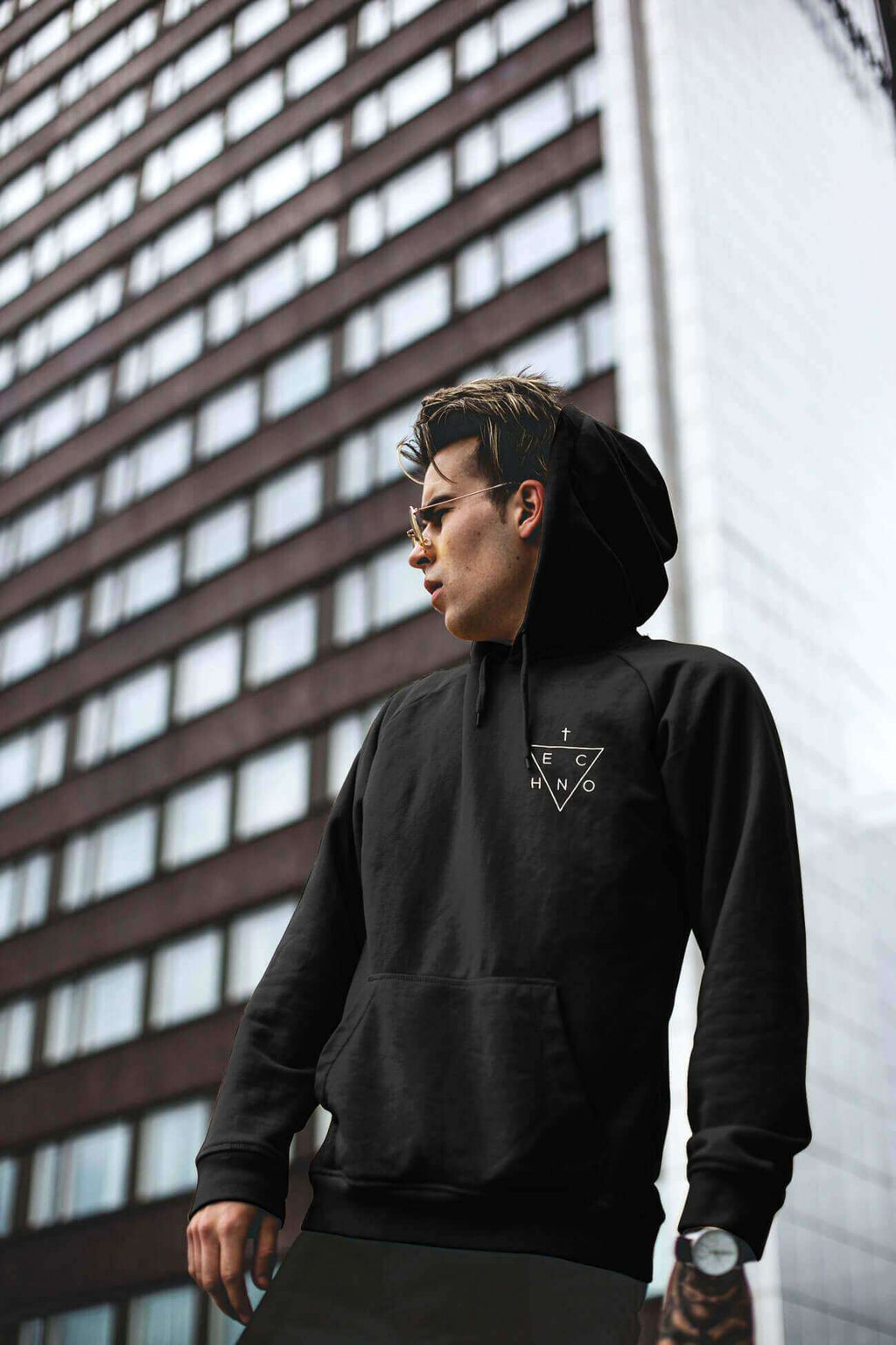 Techno Triangle Embroidered Hoodie