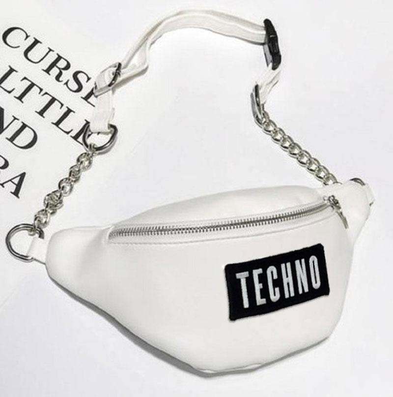 Techno Mini Waist Bag White