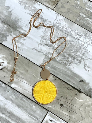 Yellow Threaded Charm Necklace Earring Set - B Three Boutique