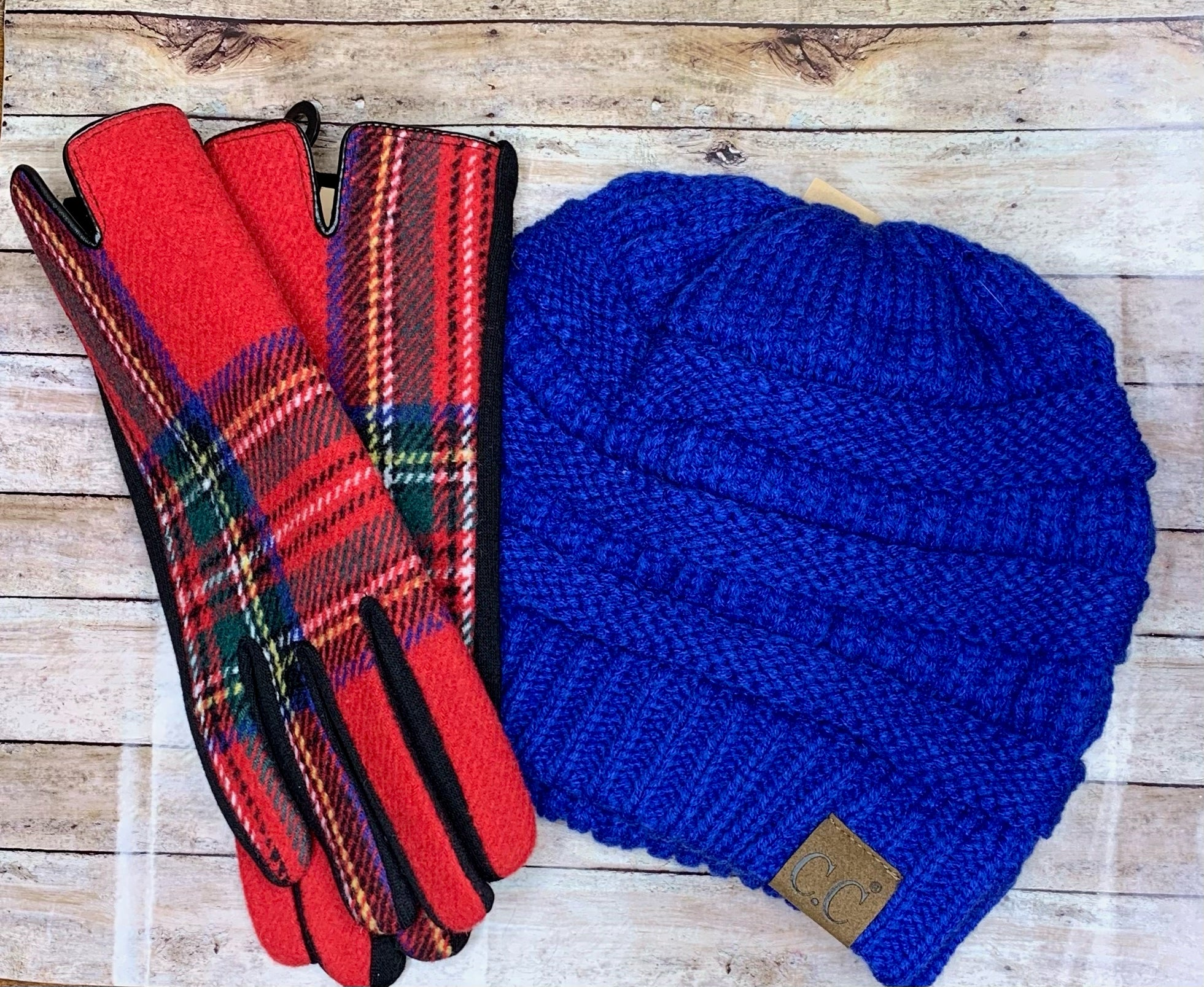 Red Plaid Gloves - B Three Boutique