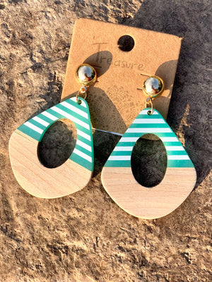 Blue Wood Earring - B Three Boutique