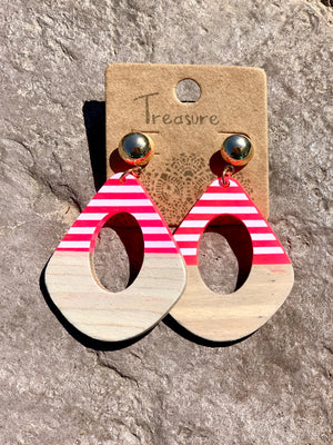 Pink Stripe Wood Earring - B Three Boutique