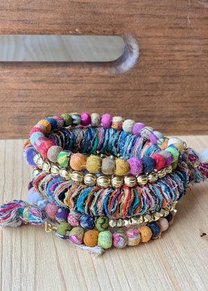 Fractal Kantha Spiral Bracelet - B Three Boutique