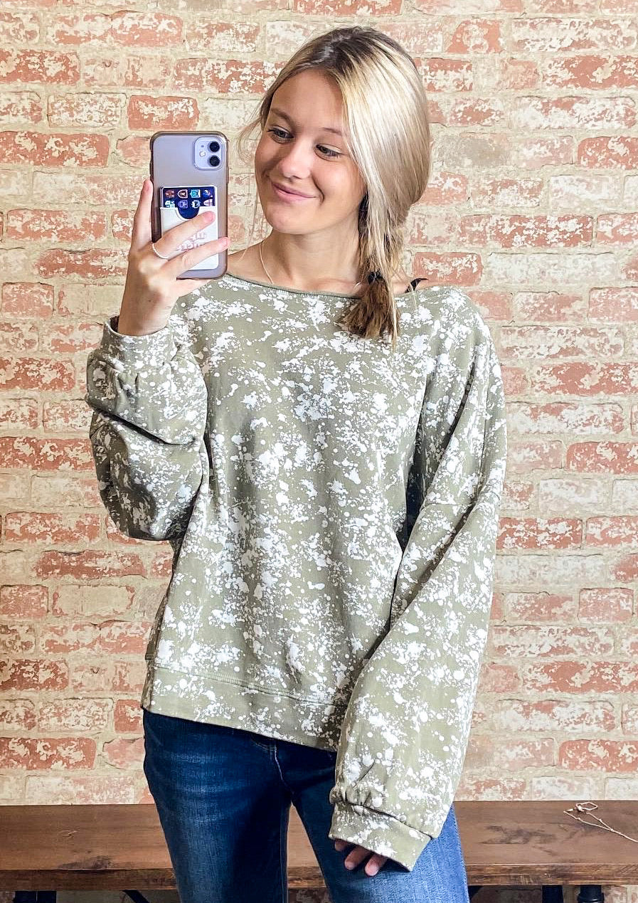 Paint Splatter Boat Neck Sweatshirt - B Three Boutique