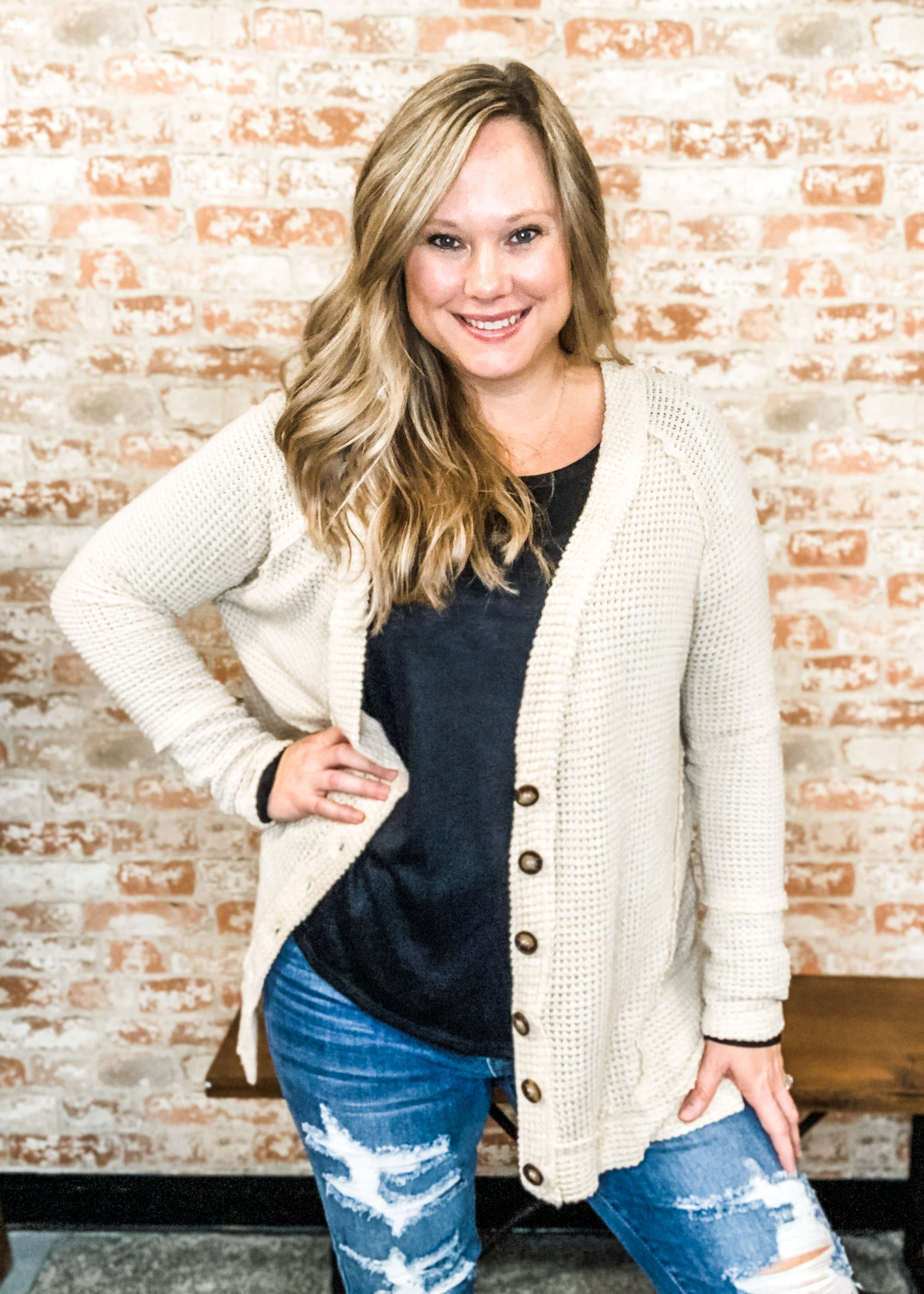 Nude Waffle Knit Cardigan - B Three Boutique