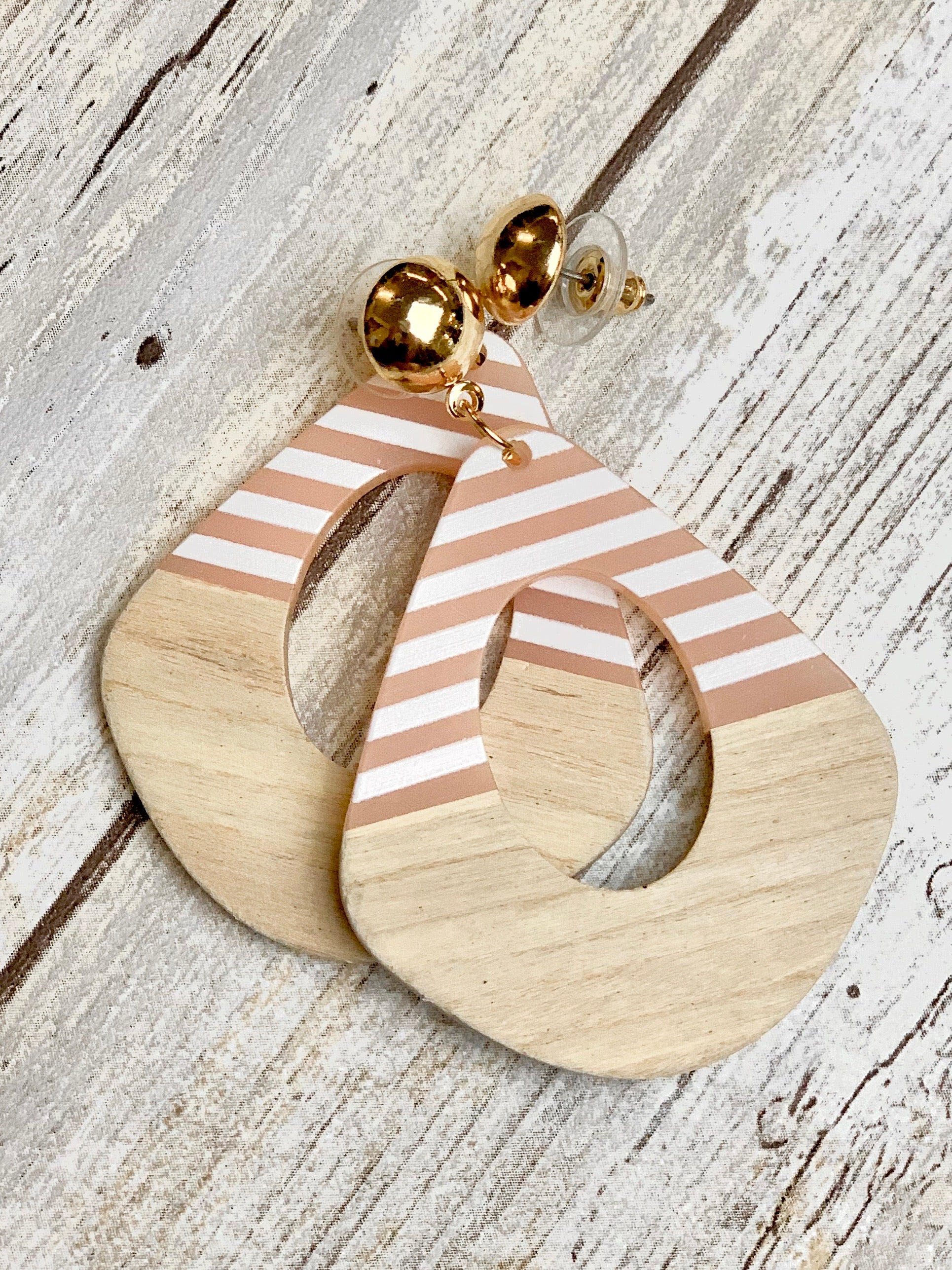 Rose  Stripe Wood Earring - B Three Boutique