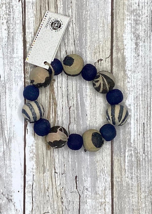 Kantha Indigo Bauble Bracelet - B Three Boutique