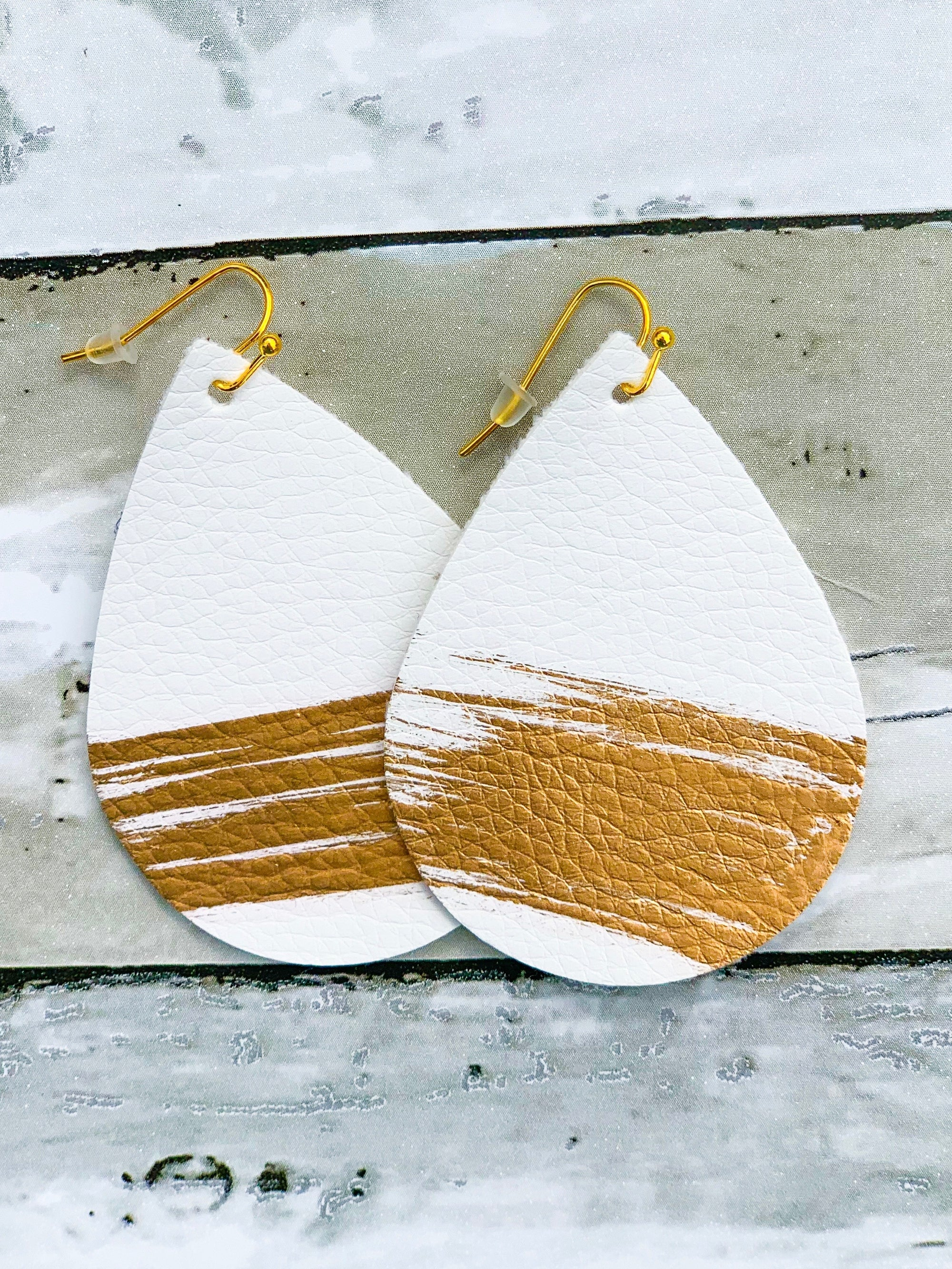 Cecelia White/Gold Faux Leather Earrings - B Three Boutique