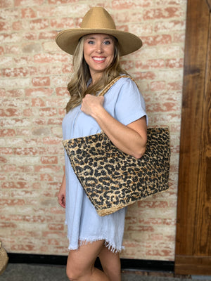 Leopard Jute Bag - B Three Boutique