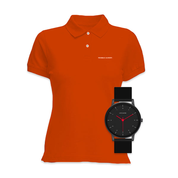 LIFE SAVER WATCH 3.0 - BLACK (BIG) + WOMEN'S LAURETI ORANGE POLO SHIRT BUNDLE