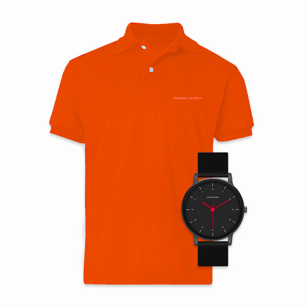 LIFE SAVER WATCH 3.0 - BLACK (BIG) + MEN'S LAURETI ORANGE POLO SHIRT BUNDLE