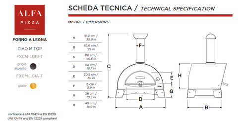 ALFA - CIAO Outdoor Pizza Oven Technical Specifications