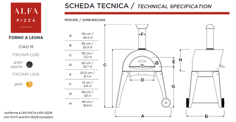 ALFA - CIAO Outdoor Pizza Oven with Base Technical Specifications