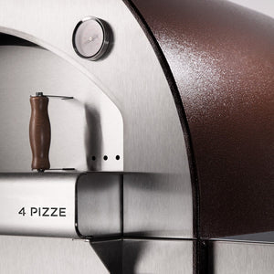 The ALFA 4 PIZZE outdoor pizza oven comes with a high quality thermostat showing the perfect pizza temperature